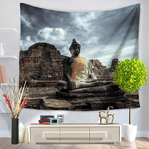 LANGUGU Indian Décor Tapestry,Buddha Ancient Architecture Mystic Style Ceremony Picture Wall Art,59 W X 51 L Inches?Wall Hanging for Bedroom Living Room Dorm