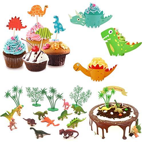 YuChiSX Dinosaurier Cupcake Wrapper Papier Dino Muffin Backen Hüllen Kuchen Dekoration Dinosaurier Kindergeburtstag Cupcake Toppers ür Kinder Party Dinosaurier Geburtstag Deko Jungen Mädchen