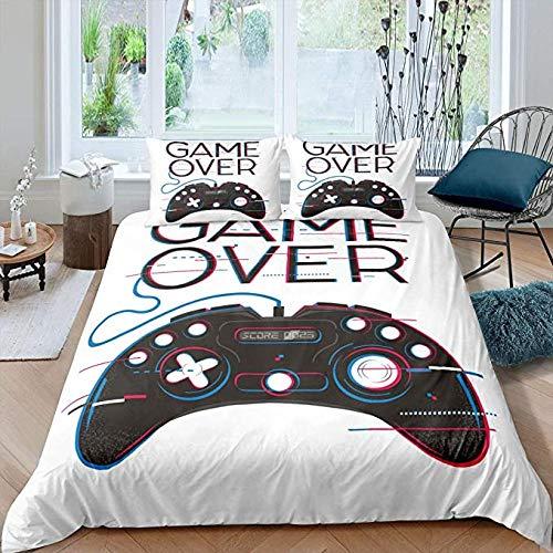 HUA JIE Junior Bed Duvet Set Gamer Bedding Set Full Gamepad Duvet Cover Modern Video Game Pattern Bed Comforter Cover Set for Boys Girls,Action Buttons Quilt Cover Set Decorative