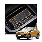 YEE PIN 2019 RAV 4 Center Console Tray Organizer Car Glove Box Storage Box Armrest Box Accessories for 2019 2020 2021 RAV 4 XA50 Console Organizer (orange)