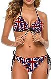 Conjunto de Bikini Halter Ajustable Sexy a la Moda para Mujer Trajes de baño de Dos Piezas-Bruselas Griffon Dog Floral, 2XL