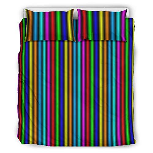 Conjuntos Retro 3 Piezas Almohada Arco Iris Color Tira Suave Hogar Europeo Patrón Negro Color Cama Doble Blanco 264x229cm