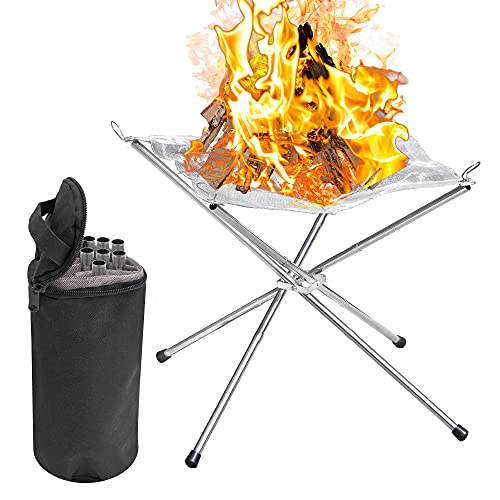 Pelle & Sol Portable Steel Mesh Camping Fire Pit for Wood Burning - Collapsing Folding Legs & Carry Bag - Great for Picnics, Camping, Bonfires, Staycations or Home Gardens