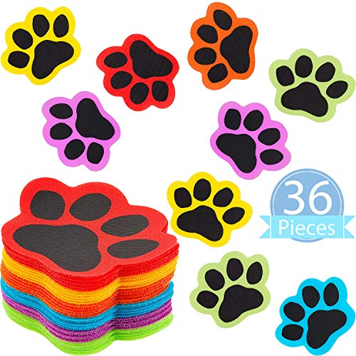 36 Pieces Paws Carpet Markers Paw Prints Floor Markers Paw Carpet Spot Dots for Classroom Home, 5 Inches