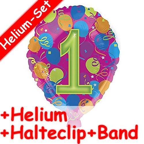 Carpeta folieballonset * cijfer 1 + helium vulling + houder clip + band * voor kinderverjaardag of themafeest // folie ballon helium decoratie ballongas motto eerste verjaardag