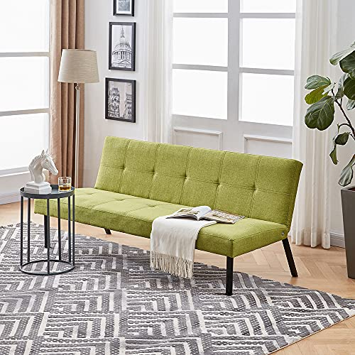 Panana Modern Sofa Bed 3 Seater Sofa Single Bed Fabric Sofa Living Room Spare Room Guest Room Bed Sofa Settee (Green)
