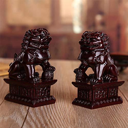 1 Par Estatua Escultura Estatuilla Feng Shui Lucky Decoración Del Hogar Decoración Roja China Talla Fengshui Leones Resina Fu Foo Perro Guardia Puerta Leones Estatua Bestia Estatua