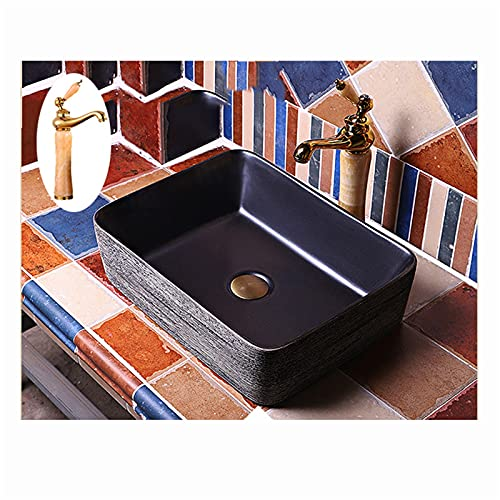 Retro De Cerámica Lavabo Sobre Encimera 485 * 370 * 135 Mm Rectangular Negro,fregadero Piedra Cocina Encimeras De Baño,lavabo Piedra Natural Sin Orificio Para(Color:Lavabo de baño + juego de grifería)