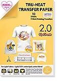 TransOurDream Real - Papel de Transferencia Térmica Para Camisetas Blancas y Tejidos Claros(A4x10 Hojas)Fácil de Usar, Sin impresión de Espejo,Compatible con Impresoras de Inyección de Tinta, ES-2-10