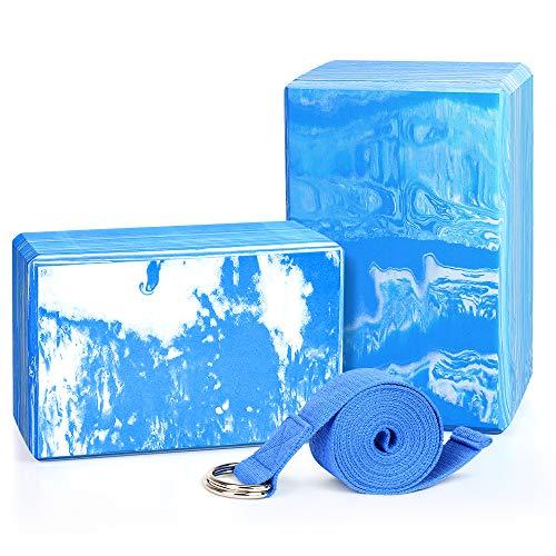 QF Yoga Blocks Plus Yoga Strap with Metal D-Ring, 9'x6'x4' 2 Pack Eco-Friendly EVA Foam...