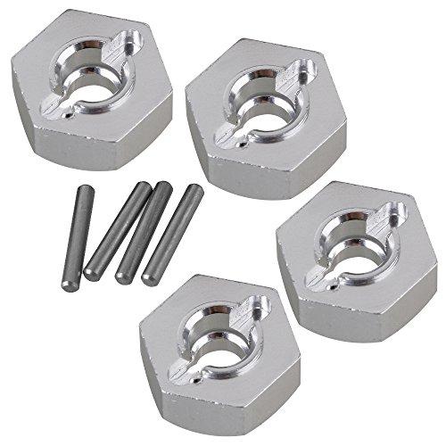 BQLZR Silber Aluminium AX31015 Rad Sechskant & Bolzen für AXIAL YETI Rock Racer 90026 RC 1:10 Rock Crawler Upgrade Sets Langlebig 4er Pack
