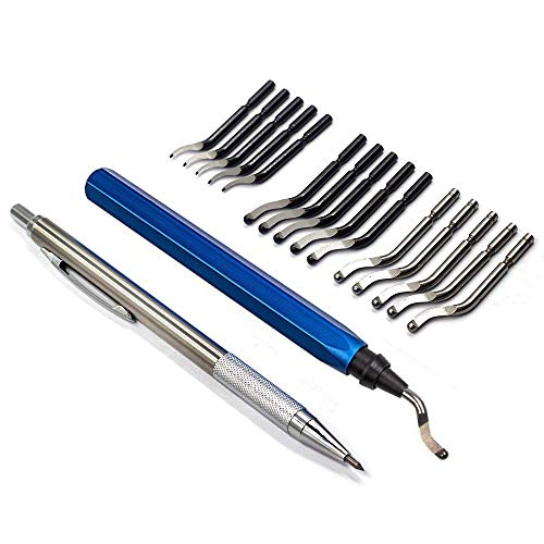 Deburring Tool Kit Set YUFUTOL 15 pcs HSS Blades with A Swivel Handle and A Pointed Tiles Cutter Pen Removing Burr for Metal Steel Aluminum Plastic Wood Fiberboard