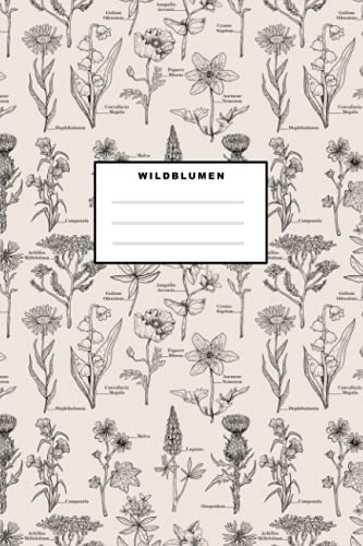 Wildblumen: Notizbuch (120 Seiten, 15x23cm, gepunktet) Dotted Bullet Grid Tagebuch Journal