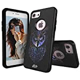 Unnito Design Commuter Case Compatible with Apple iPhone 7 – Soft and Hard Case Designed for Apple iPhone 8 Case Black - Nebula Owl