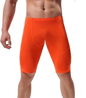 YFD Men's Compression Half Tights Leggings Sheer Swimwear Shorts Trunks Pant