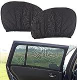 Lescars Autofenster Sonnenschutz: 2er-Set Universal-Überzieh-Sonnenschutze für Auto-Seitenscheiben (Universal Sonnenblende Auto)