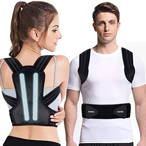 UBRU Haltungskorrektur, Rückenstabilisator für Herren Damen und Kinder mit 2 herausnehmbare Schienen für Starke Unterstützung, 2 weiche Polster lindern Achsel-Schmerzen, Geradehalter - XL
