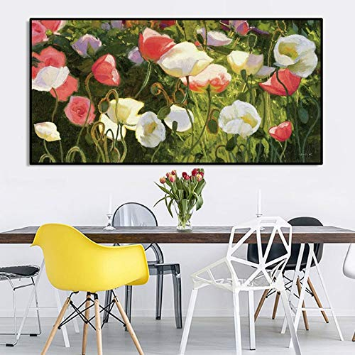 Modern flower oil painting poster and photo wall art canvas painting poppy flower picture for living room home decoration 50x100cm
