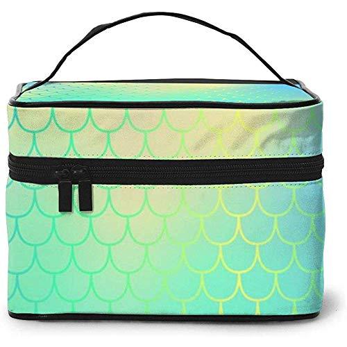 Échelle de Poisson Bleu avec Maille colorée Portable Mesdames Voyage Sac cosmétique Sac de Rangement Pochette de Maquillage Multifonction Grande capacité