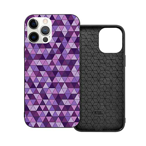 Compatible with iPhone 12 Series Case Triangle Grid Pattern Mosaic Tile in Lavender Plum Purple Amethyst Tones of Color for iPhone 12 Mini 5.4inch (2020)
