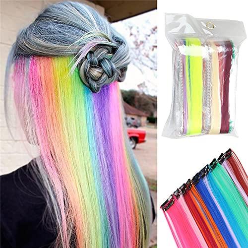 MOMAMOM 24 Pcs Extensiones De Cabello Arco Iris Clip De Color Pelucas Lacio Clip SintéTico Hair Extensions Accesorios De Pelo DIY DecoracióN Fiestas Party
