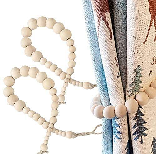 CeruleTree Lot de 2 embrasses de rideau en perles de bois - Style bohème - Pour rideaux