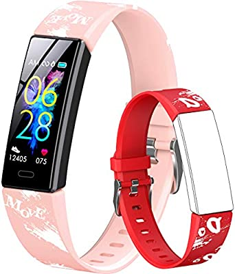GOGUM Slim Fitness Tracker with Replacement Band for Kids Girls Boys Teens Age 5-16,Heart Rate Monitor?Activity Tracker,Alarm Clock,Pedometer,Sleep Monitor,Step Tracker Counter Watch (red)