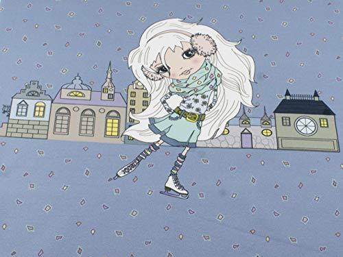 Stenzo Mädchen - Panel - Stoff mit Häusern auf Baumwoll Jersey in graublau mit 95% Baumwolle und 5% Elasthan mit 200g/m² in der Größe: ca. 50 cm x 70 cm