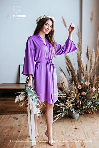 Handmade Purple lavender BOHO 'IRIS' Silk Robe, Soft Silk Purple palette robes for Bridesmaids, Set of robes, plus size robes