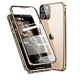 MQman 360°全面保護 前面ガラスプレート+背面ガラスプレート iphone12 iphone12 Pro ケース 6.1インチ 2色アルミバンパー 磁気止め 多点吸着 マグネット式 ガラスバックプレート 透明背面 ワイヤレス充電 アイフォンカバー (iPhone12/iPhone12Pro, 金×金)