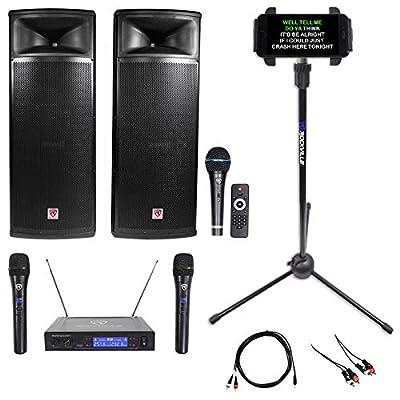 """Rockville Pro Gig Karaoke Machine System w/(2) Dual 15"""" Speakers+Wireless Mics"""