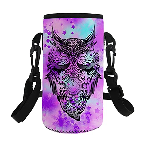 Agroupdream Small Water Bottle Cover Bag Neoprene Cup Sleeve Water Bottles Case Holder Owl Design Jugs Bottles Carrier Pouch Accessories with Adjustable Shoulder Strap