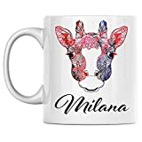 Tazza da caffè con giraffa personale Nome Milana Tazza da caffè in ceramica bianca stampata su entrambi i lati perfetta per il compleanno per lui, lei, ragazzo, ragazza, marito, moglie, uomini e donne