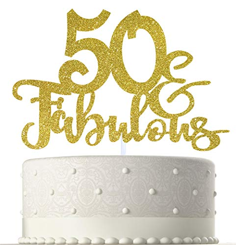 50 and Fabulous Cake Topper,Hello 50,Cheers to 50 Years,Happy 50th Birthday Party Decorations Supplies