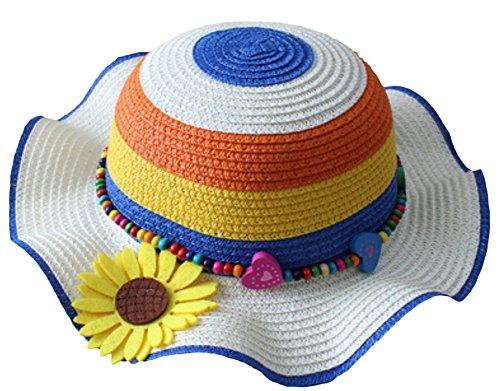 Fablcrew 1Pcs Enfants Chapeau de Paille Anti-Soleil Respirant Anti UV avec Fleur du Soleil pour Les Filles été Plage Loisir Voyage
