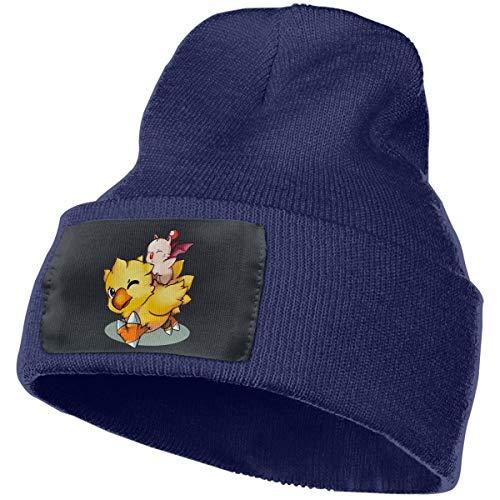 gjhj Final Fantasy Mog und Chocobo Warme Wintermütze Strick Beanie Totenkopf Manschette Beanie Mütze Wintermütze für Damen und Herren Gr. One size, navy