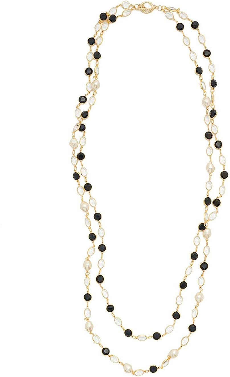 MISOOK Dual Strand Crystal and Pearl Necklace - an Effortless Piece to Go with Your Existing Gold and Pearl Jewelry Collection | Gold Tone Plating
