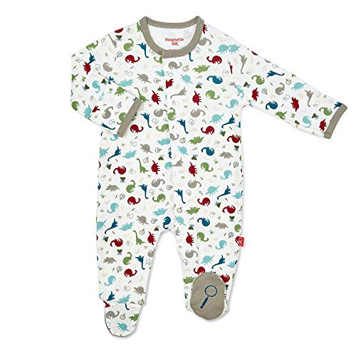 Magnificent Baby baby girls Smart-close Magnetic Smart Close Footie, Dino Expedition, Preemie US