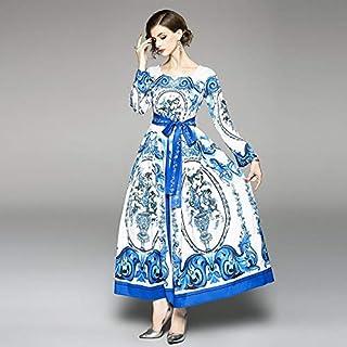واي اند دي فستان ايه لاين كاجوال للنساء - ازرق وابيض