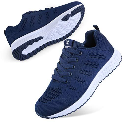 Youecci Zapatillas de Deportivos de Running para Mujer Deportivo de Exterior Interior Gimnasia Ligero Sneakers Fitness Atlético Caminar Zapatos Transpirable Azul Marino 38 EU