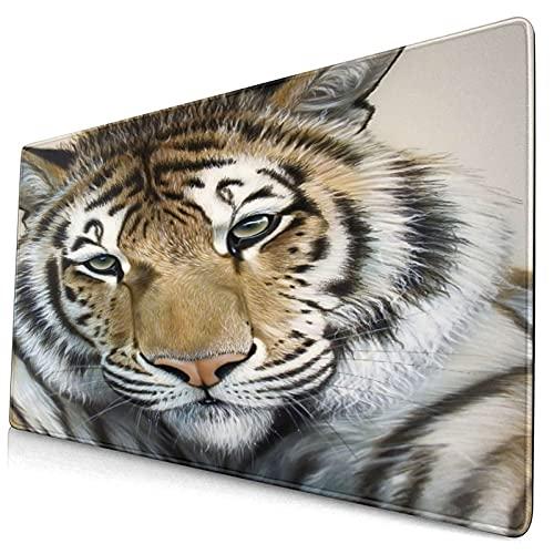 Extra Groß Spiele Mauspad mit Genähten Kanten,Acryl Tiger Airbrush Wildlife Portrait,Rutschfest Gummibasis Computer Tastatur Matte,29.5