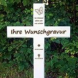 LASERfein Grabkreuz Sternenkind, Kreuz weiß, inkl. Gravur 85x45cm