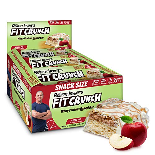 FITCRUNCH Snack Size Protein Bars, Designed by Robert Irvine, World's Only 6-Layer Baked Bar, Just 3g of Sugar & Soft Cake Core (Apple Pie)