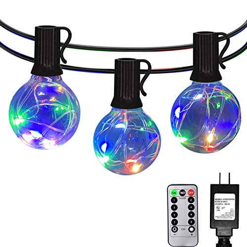 Patio Led String Lights Outdoor - IELECMG 32.8FT G40 Globe Led String Lights 32 Bulbs(2 Spare) Linkable Dimmable Waterproof Decorative Lighting Remote Control for Garden Party Wedding Decorations