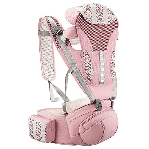 YOOVEE Ergonomic Baby Carrier with Hip Seat, Baby Carrier Newborn to Toddler with Lumbar Support Child 7-33 lbs and Cool Air Mesh, Safety Comfort Baby Holder Carrier (Pink)