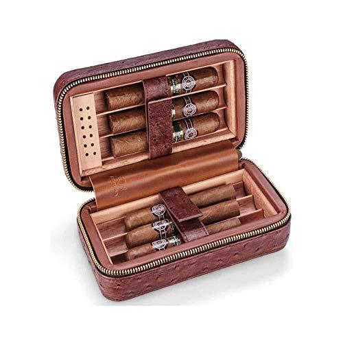 CLJ-LJ Caja de cigarros, humidor de viaje portátil 6 varitas de sellado de la guarnición de madera de cedro, conveniente for los fumadores cigarros humidores de puros y Accesorios - cuero marrón, anti