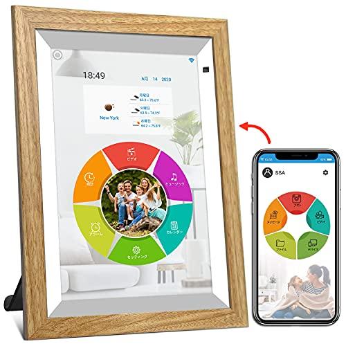 """WiFi digitaler Bilderrahmen, YENOCK 10.1\""""Touchscreen mit Bewegungssensor 1280 * 800 Eingebauter 16 GB Speicher Hoch- und Querformat Foto und Video Über App/Facebook/Twitter/E-Mail/Twitter/Email"""