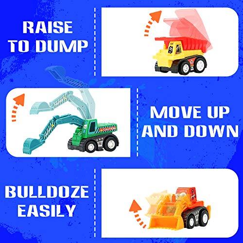 Construction Vehicles Pull Back Toy Cars Bulldoze Excavator Dump Truck Model Kit for Children Toddlers Kids Mini Engineering Toys Party Favors Cake Decorations Topper Easter Egg Filler Gift 9 Packs