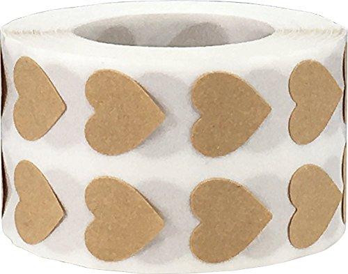 Braune Natürliche Kraft Herz Aufkleber, 13 mm 1/2 Zoll Valentinstag Etiketten 1000 Packung