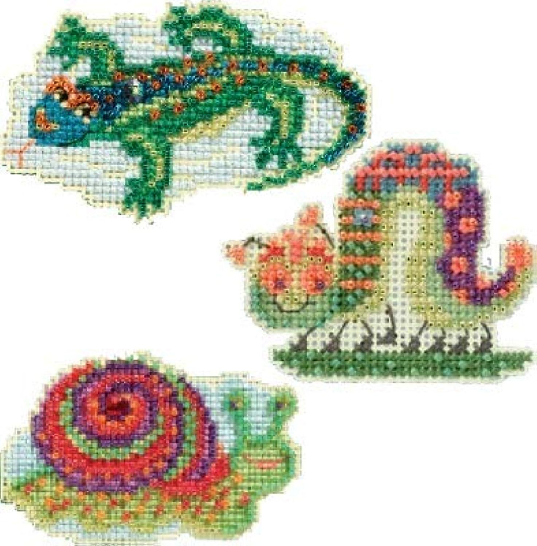 3 Item Bundle - Counted Glass Bead Kits : Snail, Caterpillar and Lizard